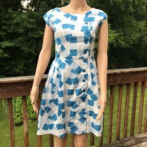 Modcloth Emily & Fin Blue White Dress XS
